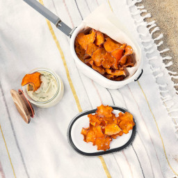 Sweet Potato Chips with White Bean and Basil Dip