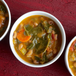 Sweet Potato, Collard and Black-Eyed Pea Soup