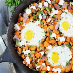 Sweet Potato Hash with Brussel Sprouts and Goat Cheese