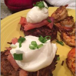 Sweet Potato Latkes with Maple Mascarpone and Smoked Salmon