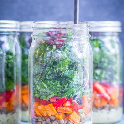 Sweet Potato, Lentil and Kale Meal Prep Salads with Curry Tahini Dressing