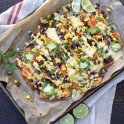 Sweet Potato Nachos with Vegan Queso