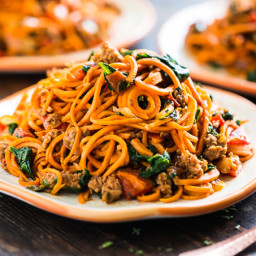 Sweet Potato Noodles with Chorizo, Roasted Red Pepper, and Spinach
