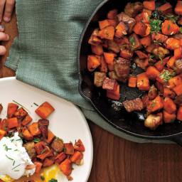 Sweet Potato-Pork Belly Hash