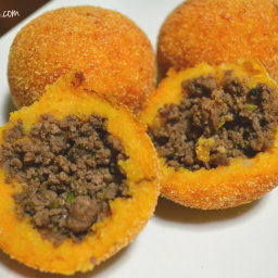 Sweet Potato Rellenos De Papa (Stuffed Sweet Potato Fritters)