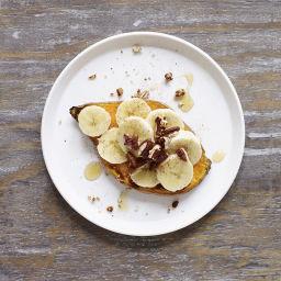 Sweet potato toast with banana, honey, and pecans