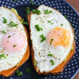 Sweet Potato Toast with Fried Eggs