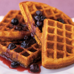 Sweet-potato waffles with blueberry syrup