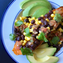 Sweet Potato with Black Beans, Corn and Avocado
