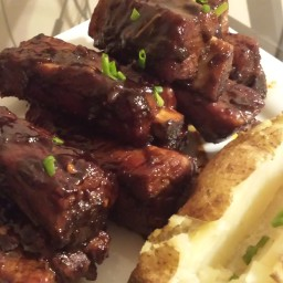Sweet & Spicy Maple BBQ Sticky Pork Ribs.