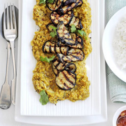 Sweet  and  sour lentil dhal with grilled aubergine
