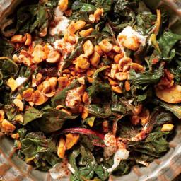 Swiss Chard Salad With Spiced Hazelnuts
