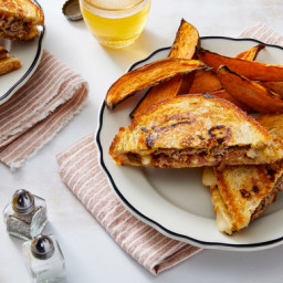 Swiss Cheese Patty Melts with Roasted Sweet Potato Wedges