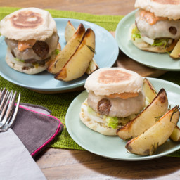 Swiss Cheeseburgers on English Muffins with Rosemary-Roasted Potato Wedges
