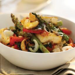 Szechuan-Glazed Tofu with Asparagus et Cashew Stir-Fry