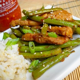 szechuan pork  and  green beans