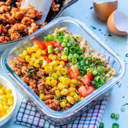 Taco Scramble Breakfast Meal Prep Bowls