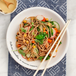 Tahini Noodles with Roasted Carrots and Chickpeas