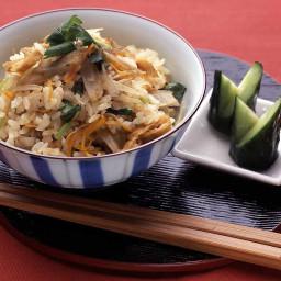 Takikomi Rice with mushroom and salmon
