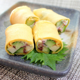 Tamagoyaki Stuffed with Cheese Fish Cake and Cucumbers (Japanese Omelette)