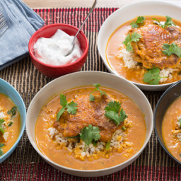 Tandoori Chicken and Brown Ricewith Coconut-Tomato Sauce and Mint Yogurt
