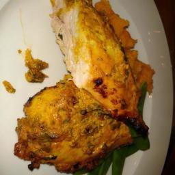 Tandori Roasted Chicken with Spicy Sweet Potato and Mint Raita