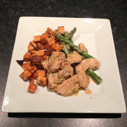Tarragon Chicken with Sweet Potato Wedges and Asparagus Spears