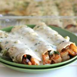 Tasty Roast Shrimp Enchiladas with Jalapeño Cream Sauce