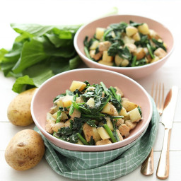 Tempeh and Spinach Stir Fry with Potato