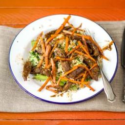 Teriyaki Beef with Black Sesame Seeds & Brown Rice