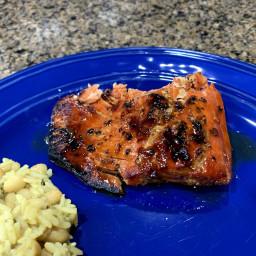 Teriyaki Marinated Salmon with Honey Habanero Glaze