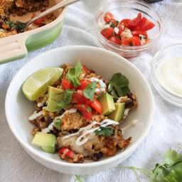 Tex-Mex Chicken and Quinoa Casserole with Lima Crema and Pico de Gallo