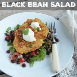 Tex-Mex Corn Fritters over Black Bean Salad