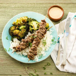 Thai Beef Satay with Crispy Broccoli, Peanut Sauce, and Jasmine Rice