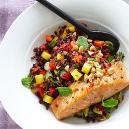 Thai Black Rice Salad with Wild Salmon