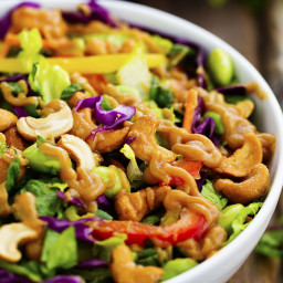 Thai Cashew Chopped Salad with a Ginger Peanut Sauce