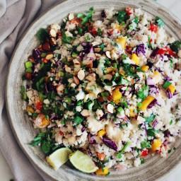 Thai Cauliflower Rice Salad with Peanut Butter Sauce
