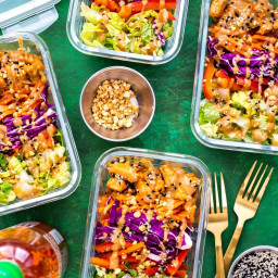 Thai Chicken Meal Prep Bowls with Peanut Sauce