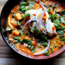 Thai Curry Noodle Soup with Halibut