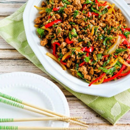 Thai-Inspired Ground Turkey Stir-Fry with Basil and Peppers (Low-Carb, Glut