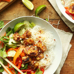 Thai Noodle Bowls with Almond Butter Tofu