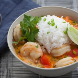 Thai Shrimp Soupwith Coconut, Lemongrass and Red Curry