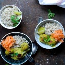 Thai veggie kødboller i grøn karrysauce