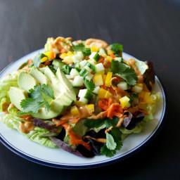 Thai Veggie Salad with Creamy Peanut Dressing