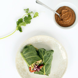Thai Zucchini and Cucumber Noodle Collard Green Wraps with Almond Butter Sa