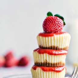 The Best Mini Vanilla Cheesecakes with Strawberry Sauce