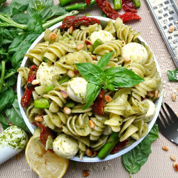 The Ultimate 10 Minute Pesto Pasta with Asparagus and Sundried Tomato