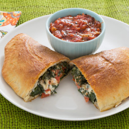 Three Cheese Calzoneswith Kale and Tomato Sauce