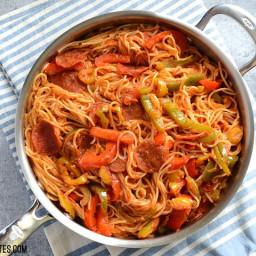 Three Pepper Pasta with Crispy Pepperoni