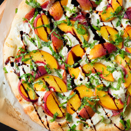Three Cheese Peach and Prosciutto Pizza with Basil and Honey Balsamic Reduc